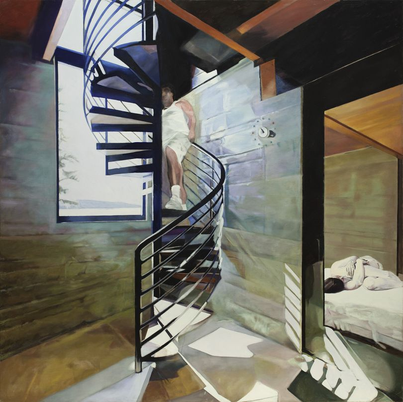 Neil Stokoe, Man Ascending Staircase with Lying Woman, 2013-14
