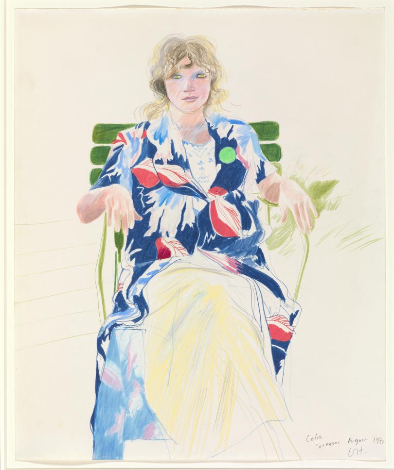 David Hockney Celia, Carennac, August 1971, coloured pencil on paper 17 x 14