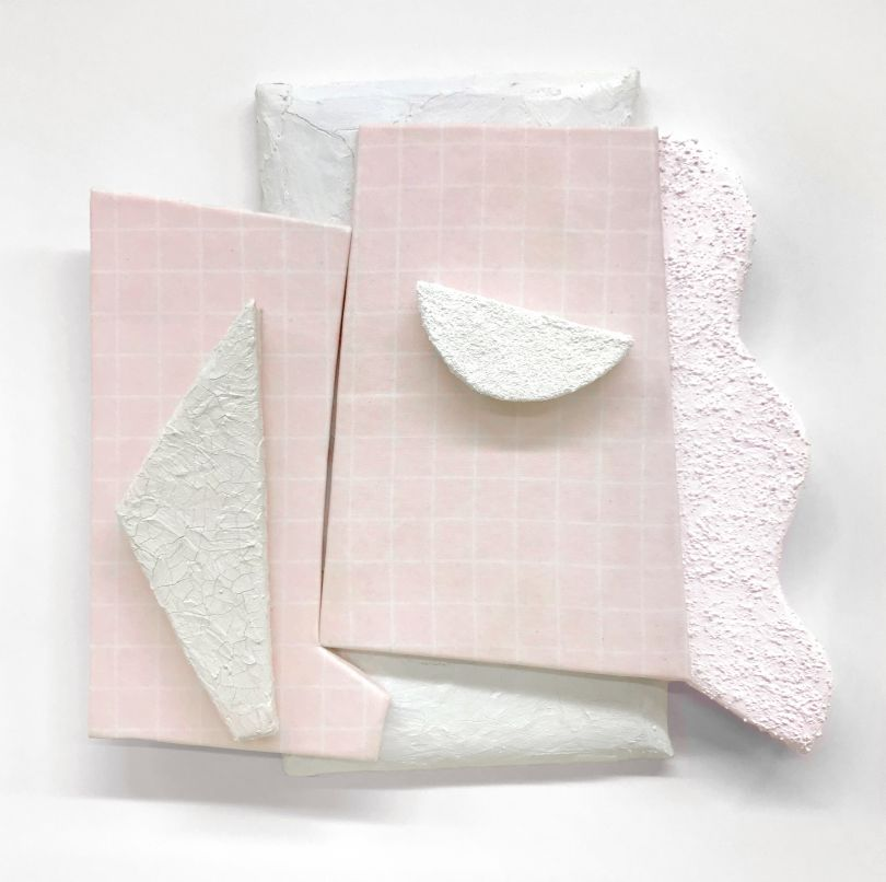 Leah Guadagnoli They're Just Shapes, 2018 acrylic, pumice stone, crackle paste, digital print on fabric, canvas, insulation board, and polyurethane foam on aluminum panel 18 x 16 1⁄2 x 3 inches Courtesy of the artist and VICTORI + MO