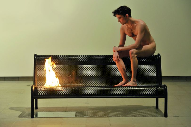 Roger Hiorns, Untitled, 2005–10, bench, fire and youth, dimensions variable; Installation view, 'British Art Show 7: In the Days of the Comet', Hayward Gallery, London, 2011. Picture credit: © Roger Hiorns. All Rights Reserved, DACS 2018