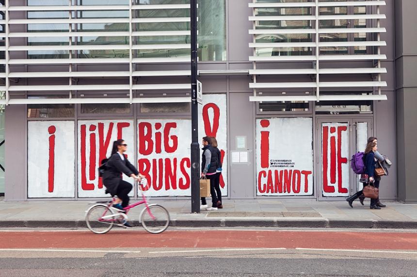 Hoarding for Byron Burger's new restaurant in Shoreditch, London.