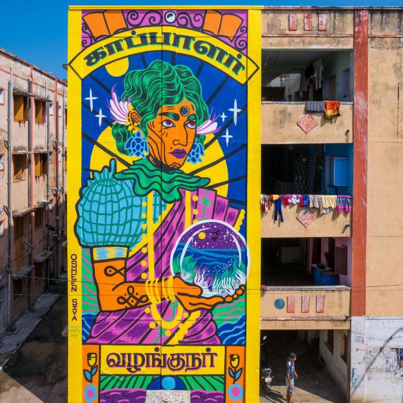 'காப்பாளர் & வழங்குநர்' ('Protectors and Providers') in Tamil for St+art India Festival Chennai 2020 © Osheen Siva
