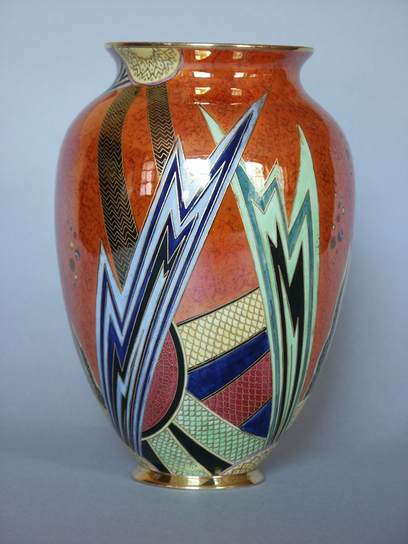 Enoch Boulton for Carlton Ware  JAZZ Pattern 3353, orange lustre 1930s Ceramic Vase, Private Collection © Terry Wise, courtesy of Terry Wise / Carlton Ware World
