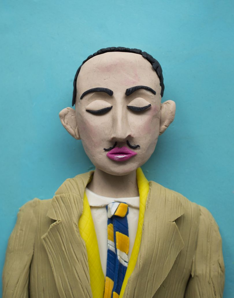 Original photograph: Salvador Dali, self-portrait in photomaton c. 1929  rendered in Play-Doh © Eleanor Macnair. All images courtesy of the artist and gallery.