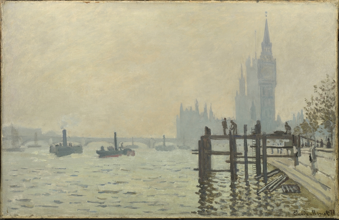 Claude Monet The Thames below Westminster (La Tamise et le Parlement), about 1871 Oil on canvas 47 x 73 cm © The National Gallery, London
