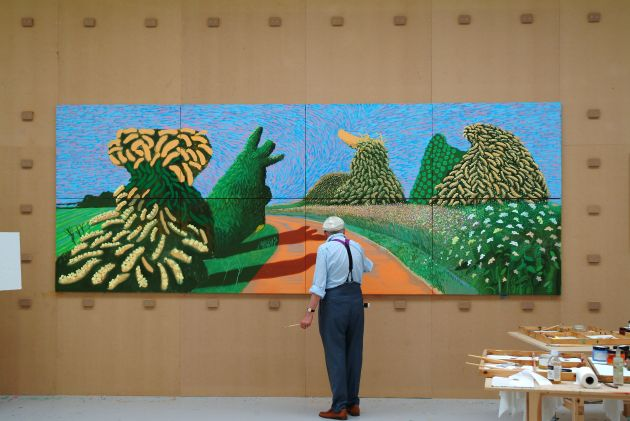 "David Hockney painting ""May Blossom on the Roman Road"", 2009, © David Hockney, Photo credit: Jean-Pierre Gonçalves de Lima."