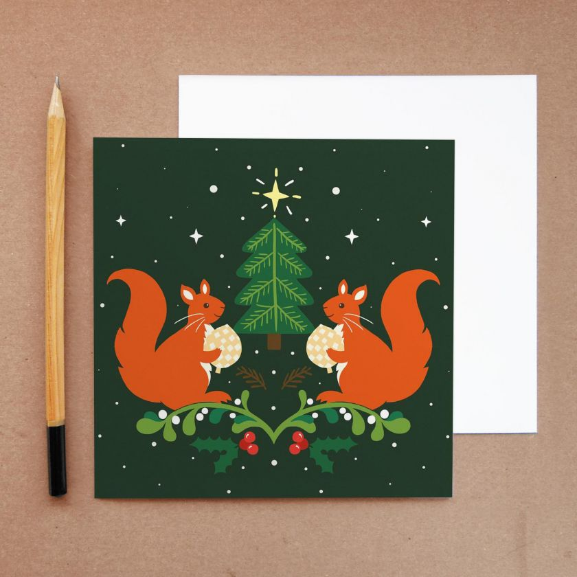 Squirrel Christmas card by Vicky Scott