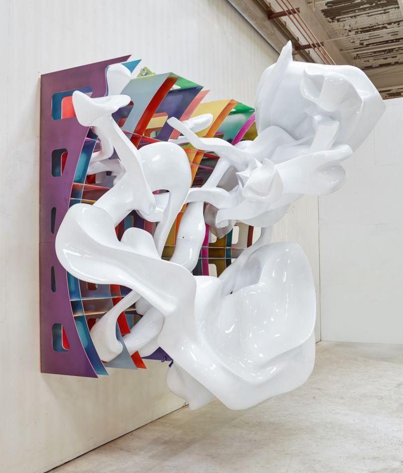 Frank Stella, Atalanta and Hippomenes, 2017, painted metal, Pu-foam, Fibreglass, 351 x 409 x 237 cm. Picture credit: artwork © Frank Stella (page 18)