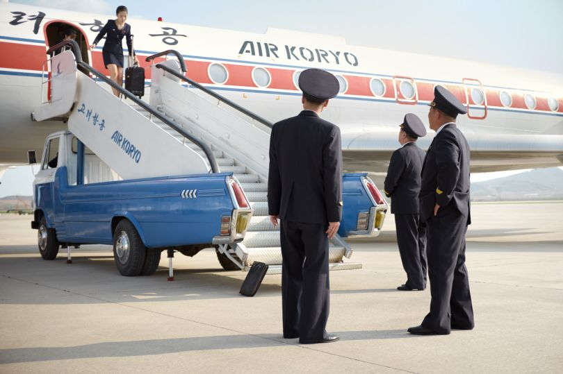 Crew disembarking after a Tupolev-134 flight