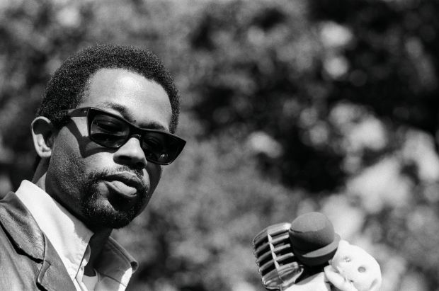 """Eldridge Cleaver speaking at a rally in Berkeley, CA 1968. From, """"The Lost Negatives,"""" photographs by Jeffrey Henson Scales Credit: Jeffrey Henson Scales"""