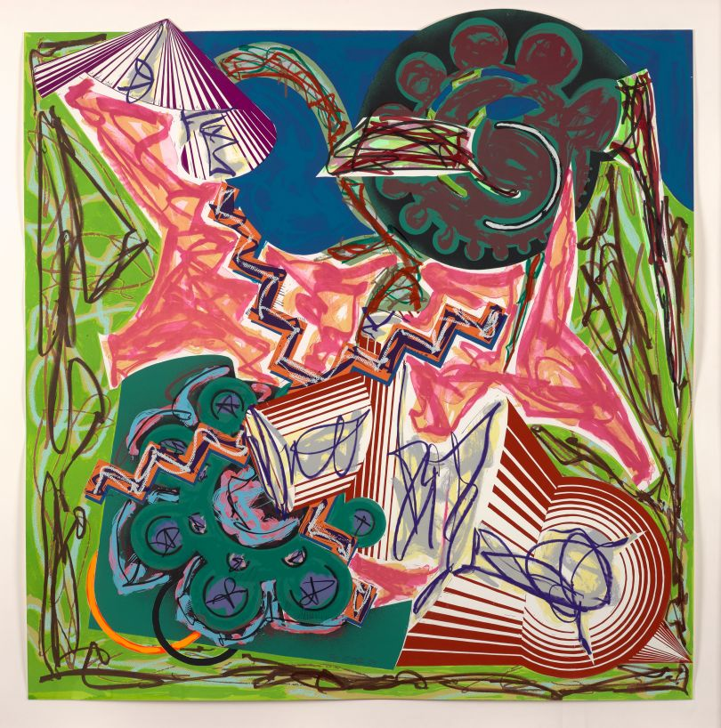Frank Stella, American, born 1936. Then Came an Ox and Drank the Water, 1984. Hand-coloring and collage with lithograph, linocut, and screenprint on T.H. Saunders paper (background) and shaped, hand-cut Somerset paper (collage), 137.2 × 133 cm. Collection of Preston H. Haskell, Class of 1960 / © 2017 Frank Stella / Artists Rights Society (ARS), New York