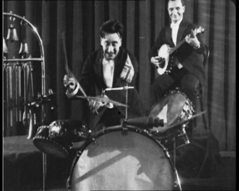 Still from The Jazz Drummer of London Senora Band 1926 Black & White film, British Pathé © courtesy of British Pathé