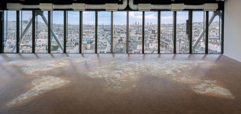 Image Credit Mona Hatoum, Map (clear), 2015, Installation view at Centre Pompidou, Paris, 2015 © Mona Hatoum. Courtesy Galerie Chantal Crousel, Paris. Photo: Florian Kleinefenn