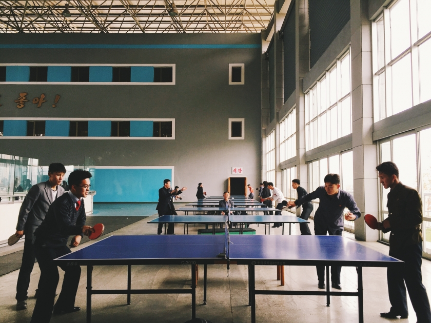 Ping Pong was very popular. Young men at a recreation centre.