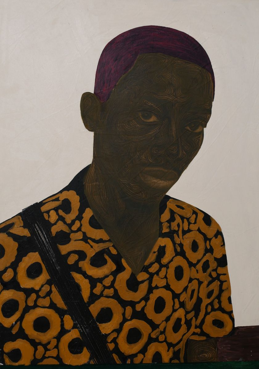 Ubah (2020), acrylic, oil and charcoal on paper, 100cm x 70cm. Courtesy of the artist Collins Obijiaku and ADA  contemporary art gallery