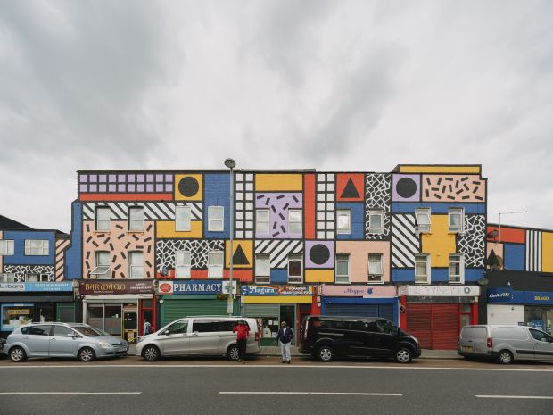 Walala Parade by Camille Walala in Leyton. Commissioned by Wood Street Walls. Photography by Tim Crocker