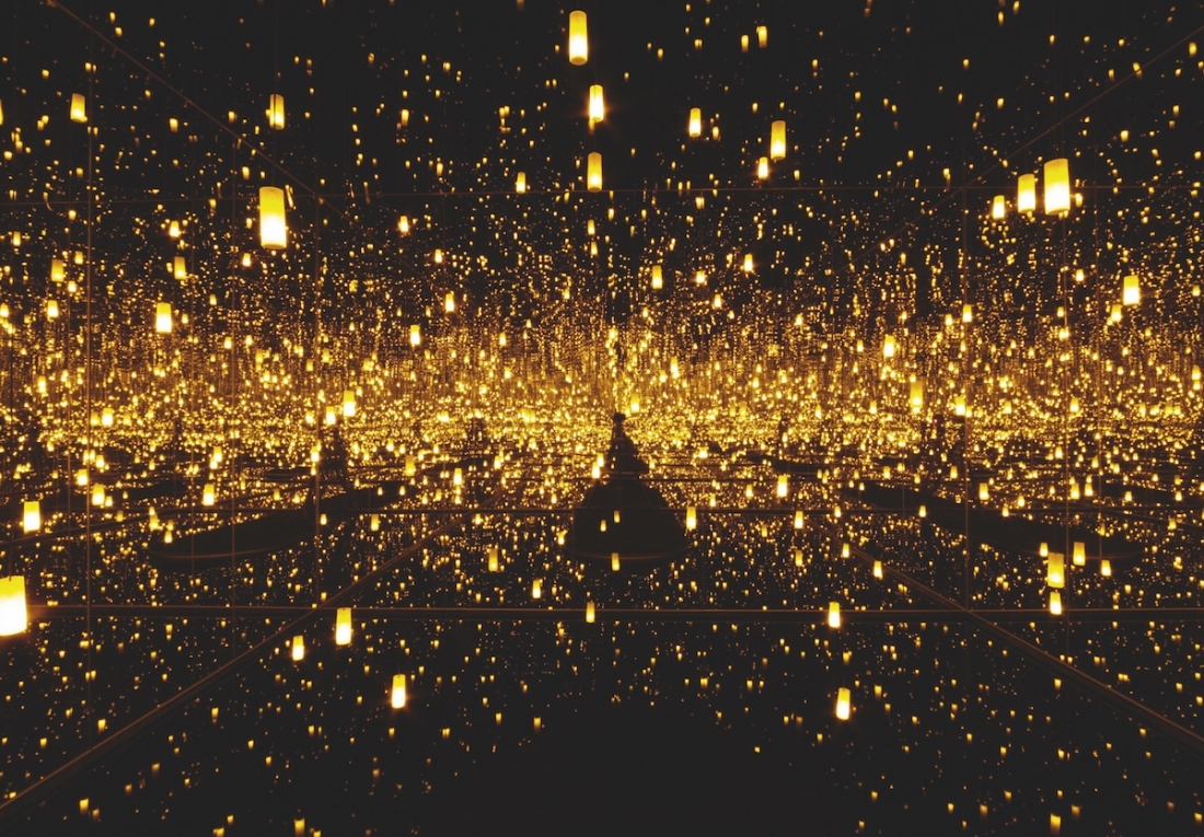 Yayoi Kusama, Aftermath of Obliteration of Eternity, 2009, wood, mirrors, plastic, acrylic, LED lights, water, aluminium, 287 x 415 x 415 cm. Picture credit: artwork © Yayoi Kusama (page 199)