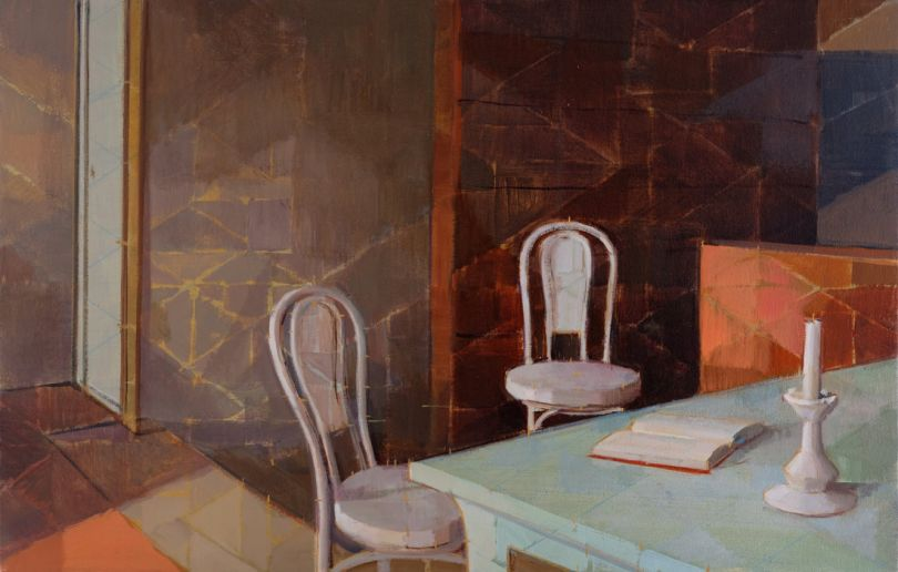 Orange and Two Chairs Oil on Canvas 18
