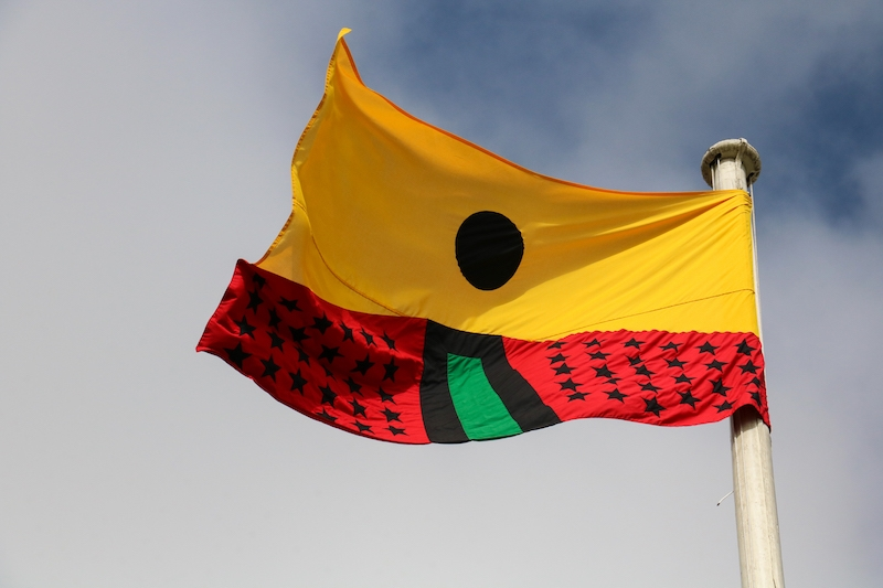 Larry Achiampong – PAN AFRICAN FLAGS FOR THE RELIC TRAVELLERS' ALLIANCE, 2018. Courtesy: Copperfield