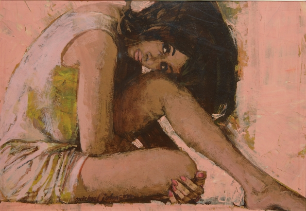 Michael Johnson, Pink Woman, c 1962, casein tempera on board, copyright Lever Gallery