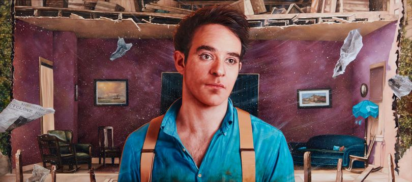 Charlie Cox as William Canfield Jr. from Steamboat Bill, Jr. Oil on Canvas 135 x 60cm