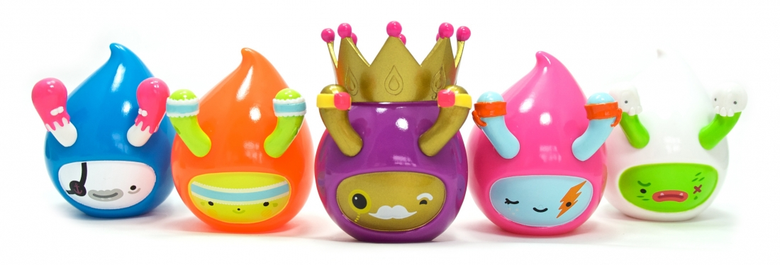Vinyl toy characters called 'Droplets'
