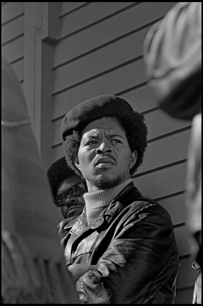 """Black Panther Party member, Captain Bobby Bowens of the Richmond office at a Free Huey rally at Defermery Park, Oakland CA, 1968. from, """"The Lost Negatives,"""" photographs by Jeffrey Henson Scales Credit: Jeffrey Henson Scales"""