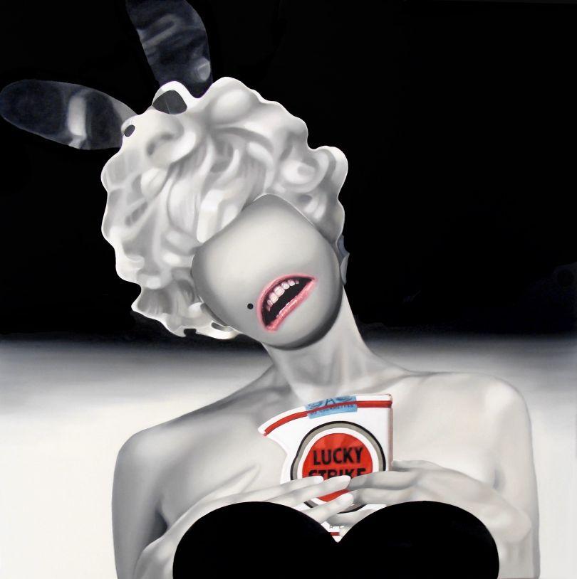 Lucky Bunny, Oil on canvas, 120x120cm © Teiji Hayama