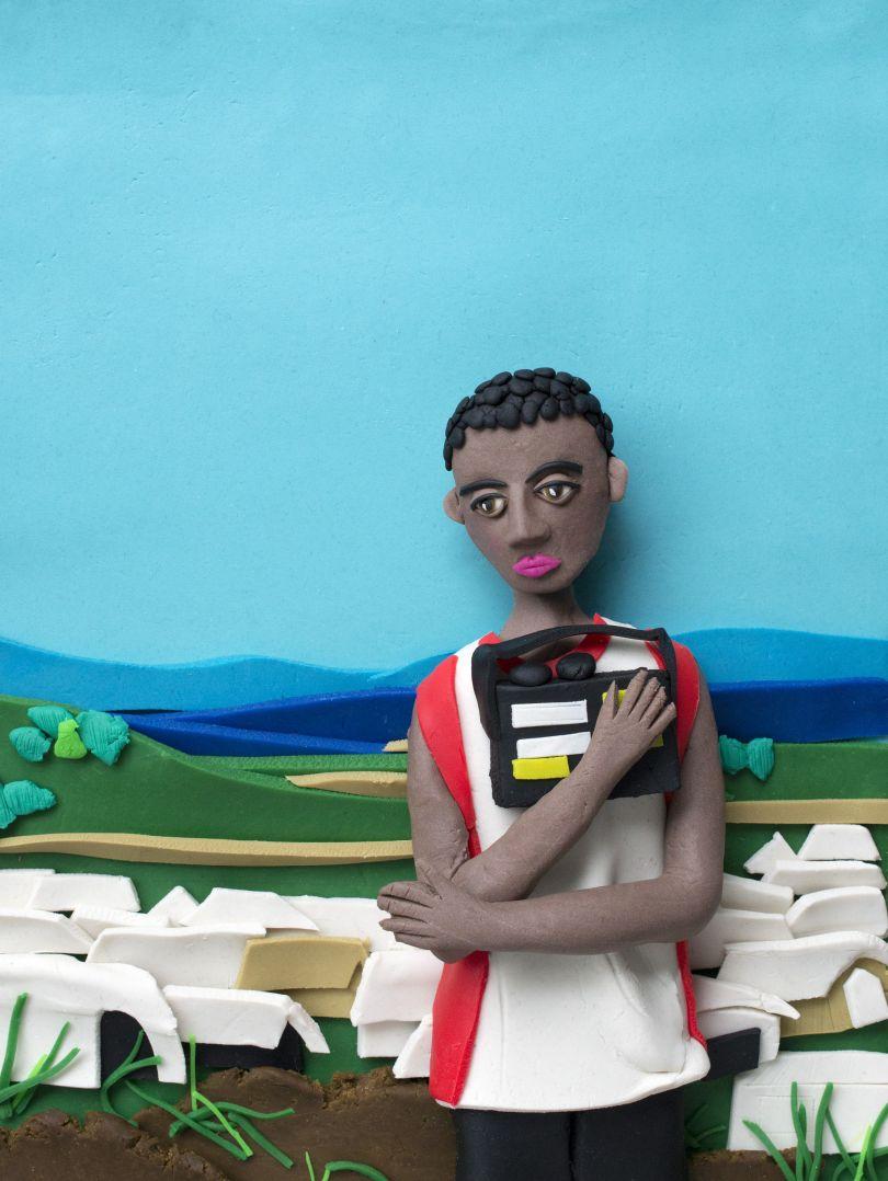 Original photograph: [Prized Possession (#2)](http://pro.magnumphotos.com/C.aspx?VP3=SearchResult&VBID=2K1HZO6BUUBFC2&SMLS=1&RW=1197&RH=579). Democratic Republic of Congo, Africa, 2008 by Jim Goldberg rendered in Play-Doh by Eleanor Macnair © Eleanor Macnair