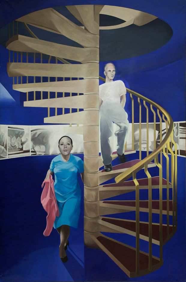 Neil Stokoe, Spiral Staircase with Two Figures