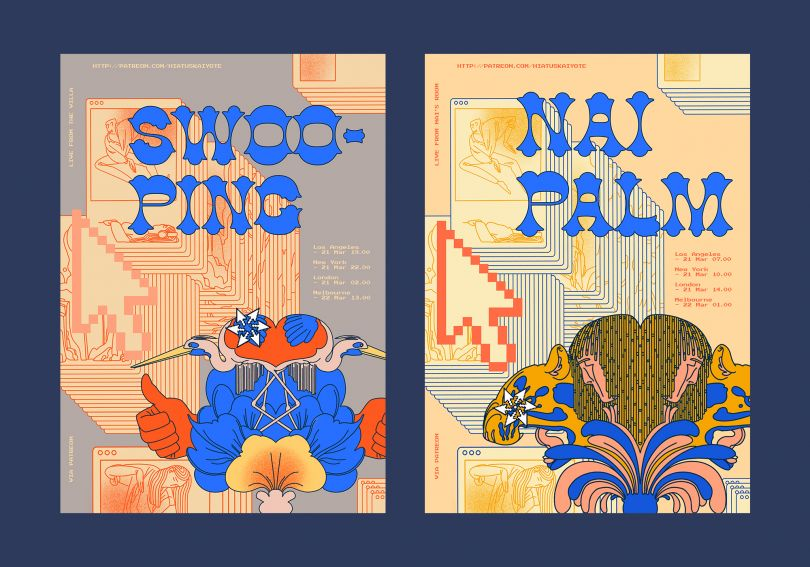 Swooping + Nai Palm Livestream Show Posters - pair of posters made for Nai Palm and Swooping (solo projects from members of the band Hiatus Kaiyote), for their online streamed live shows (replaced touring concerts that were cancelled due to COVID-19). Main contact Si Jay Gould from Wondercore Island management © Avalon Nuovo