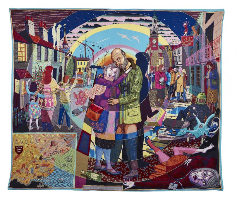 Grayson Perry, In its Familiarity Golden, 2015, Tapestry 290 x 343 cm 114 1/8 x 135 1/8 in Published by Paragon © Grayson Perry. Courtesy the artist, Paragon | Contemporary Editions Ltd and Victoria Miro, London