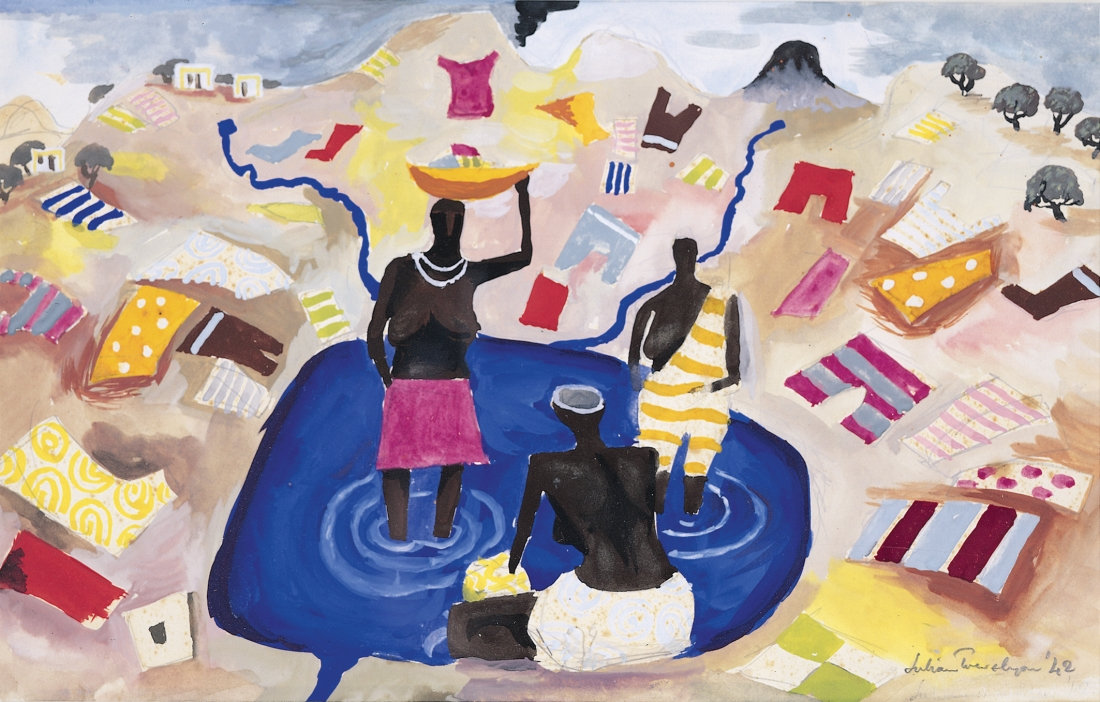 Julian Trevelyan, Washing Day, Freetown, 1942, gouache on paper, 21 x 33cm, Private collection © The Julian Trevelyan Estate