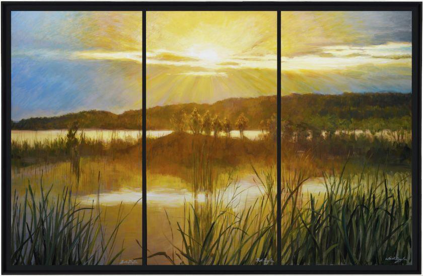 Bob Dylan, Marsh at Sunset Triptych, 2020