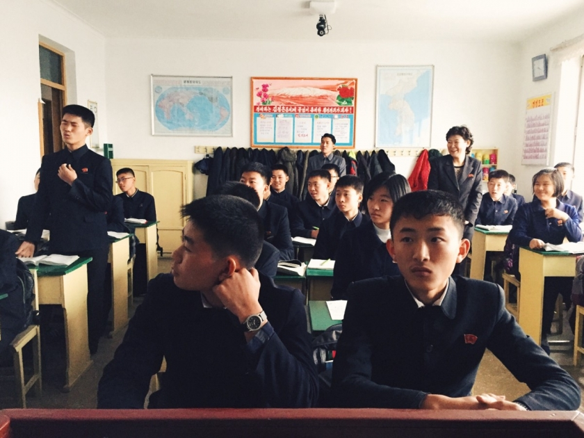 Young students at a middle school outside Pyongyang.