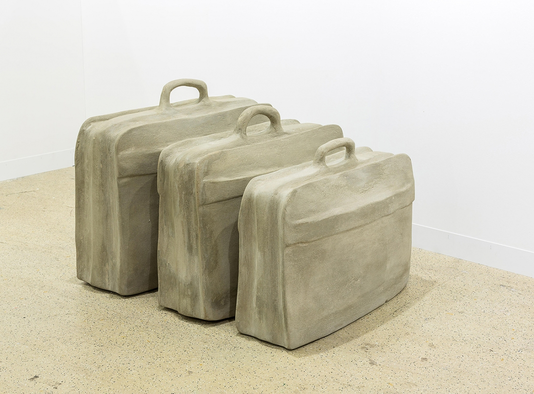 Rayyane Tabet Fossils (The Suitcase) 2014 From the Series: Five Distant Memories: The Suitcase, The Room, The Toys, The Boat and Maradona, 2006 ongoing Three suitcases encased in concrete 84 × 70 × 34 cm 90 × 75 × 34 cm 80 × 60 × 33 cm Image courtesy of Rayyane Tabet and Sfeir-Semler Gallery, Hamburg/Beirut