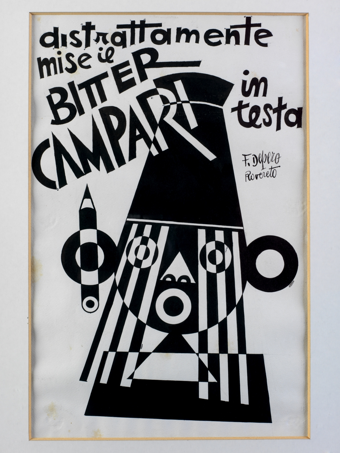Fortunato Depero, Distrattamente mise il Bitter Campari in testa, 1928. He Distractedly put the Bitter Campari on His Head. Ink on Paper.