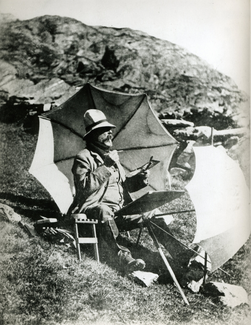 Unknown photographer, Sargent painting a watercolour in the Simplon Pass, c. 1910-11, Sargent Archive, Museum of Fine Arts, Boston