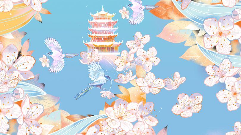 Cherry Blossoms at Yellow Crane Tower by Li Min