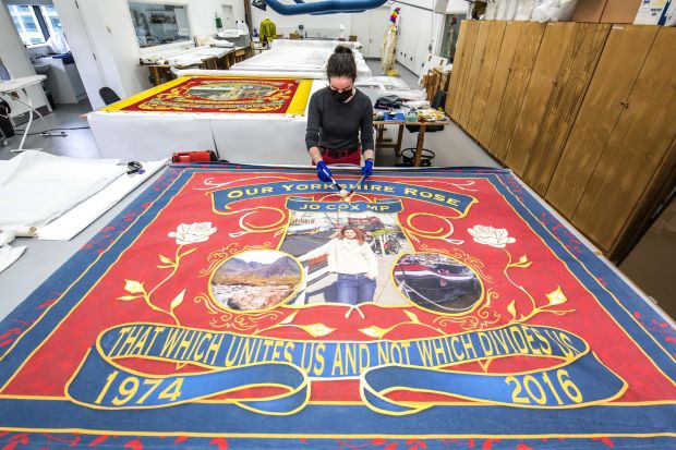 Our Yorkshire Rose banner, 2016. Courtesy of Jo Cox's family. More in Common - in memory of Jo Cox exhibition at People's History Museum. Taken in PHM's Conservation Studio