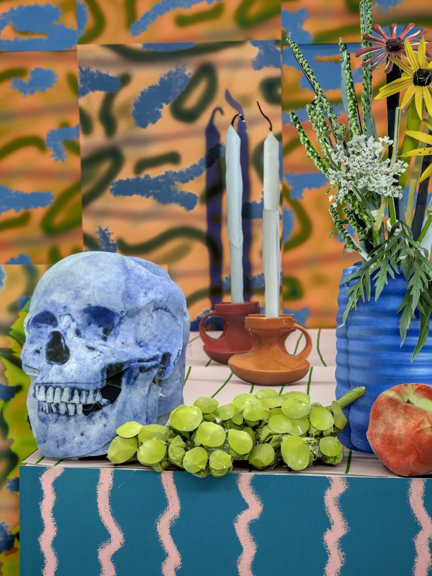 Blue Skull with Candles © Daniel Gordon