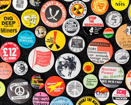 Protest badges from the city's Social History collection © Museums Sheffield