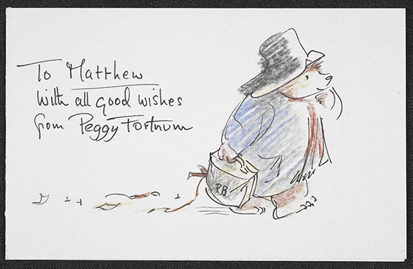 Paddington Bear sketch sent to Curator Dr Matthew Eve by Peggy Fortnum, illustrations (c) Peggy Fortnum