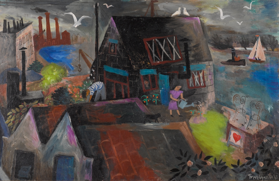 Julian Trevelyan, Durham Wharf, 1940/43, oil on canvas, 66.5 x 101.5 cm, Private Collection © The Julian Trevelyan Estate