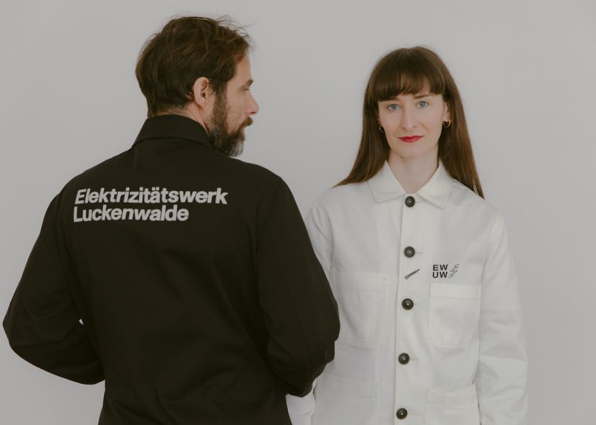 E-WERK Co-Artistic Directors Pablo Wendel and Helen Turner wearing the Werk Jackets. Courtesy of Diana Pfammatter and Universal Works