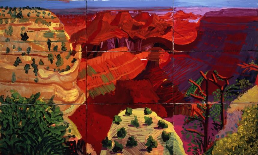 David Hockney – 9 Canvas Study of the Grand Canyon, 1998. © David Hockney Photo Credit: Richard Schmidt