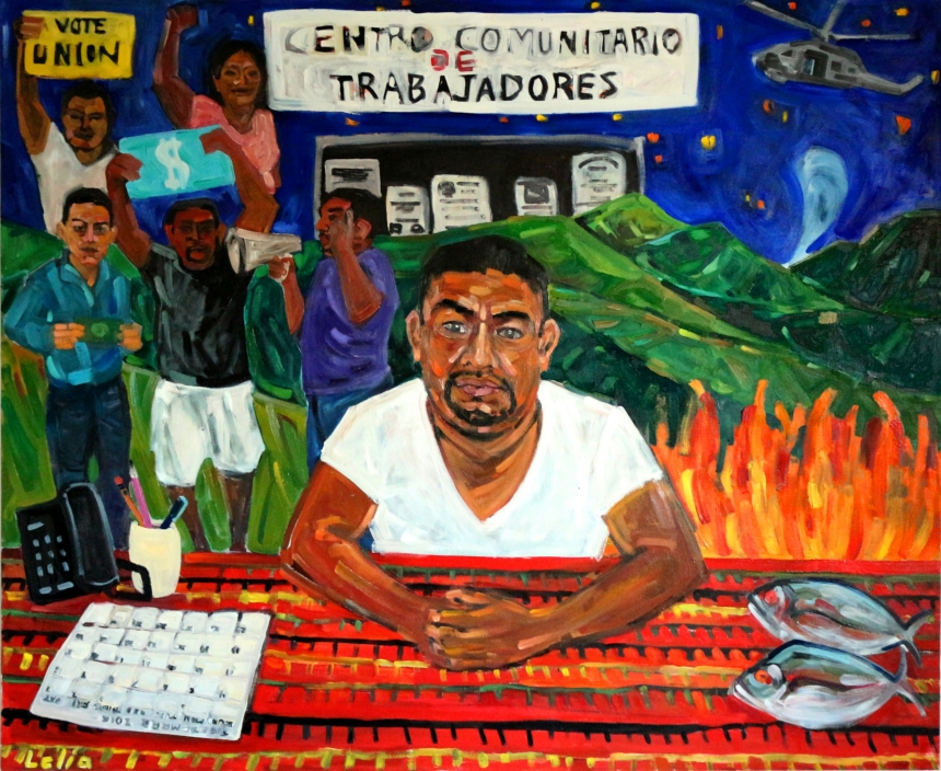 Adrian and the Centro Comunitario de Trabajadores, by Lelia Byron, oil on canvas, 168 x 137 cm, 2016.