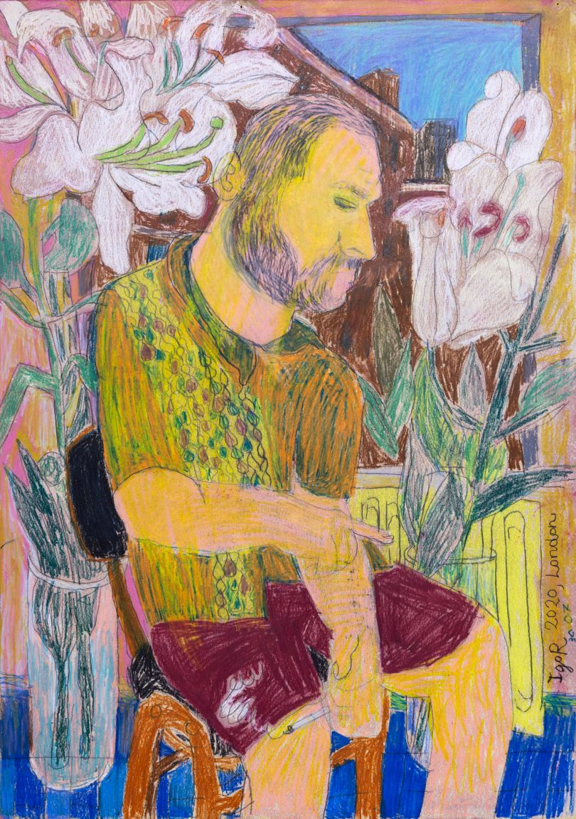 Igor Moritz, Kuba smoking with Lilies, 2020 - Delphian Gallery