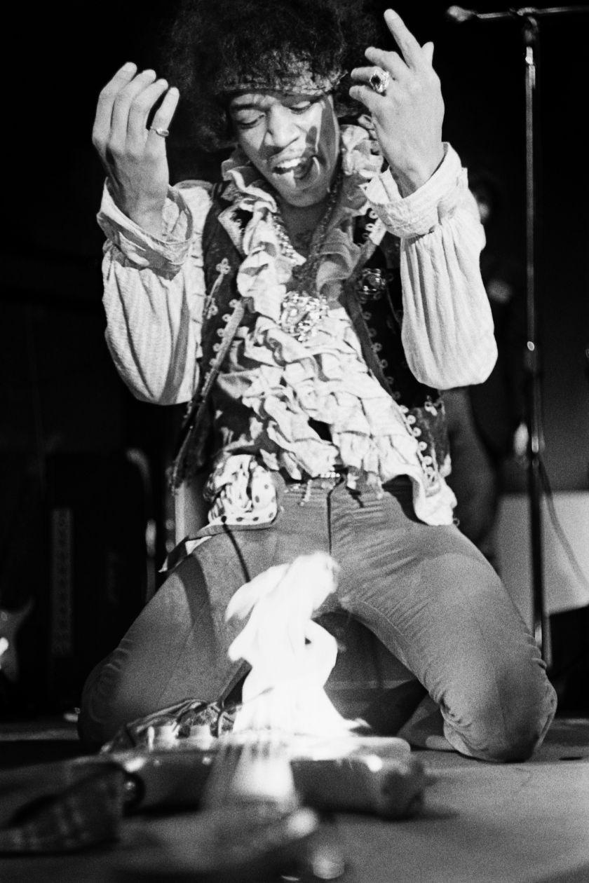 Ed Caraeff, Hendrix At Monterey, Gelatin silver print, 40.6 x 50.8 cm, © Ed Caraeff | Iconic Images
