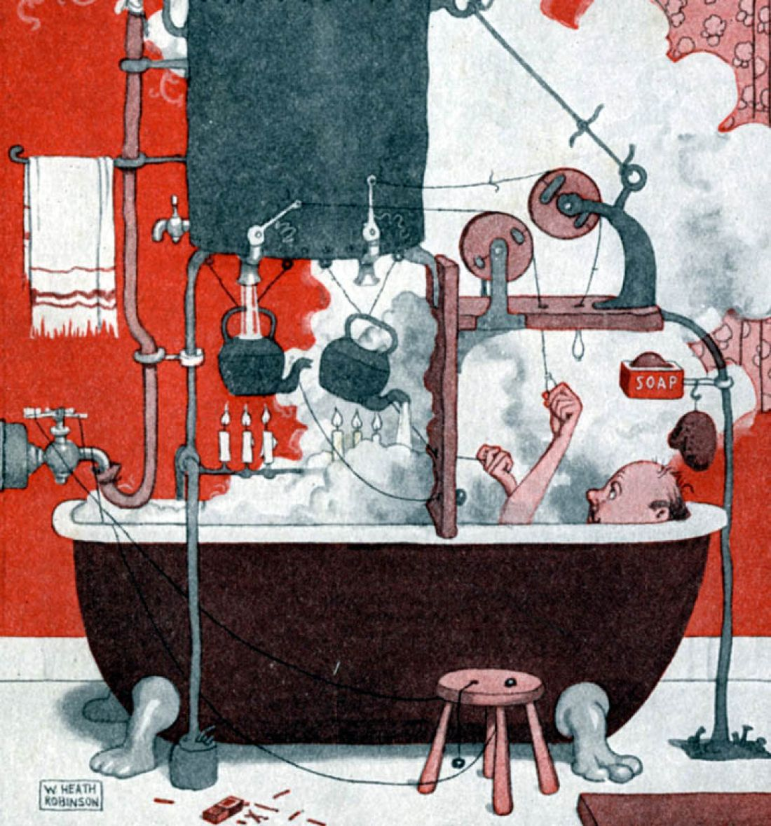 Detail of 'With a Clarkhill You Will Have Cheap and Unlimited Hot Water', from This is a complicated way to obtain hot water, but . . ., c.1921